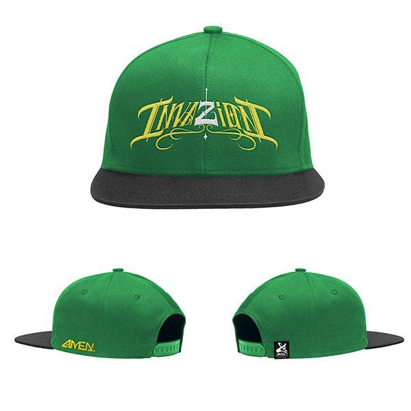 Invazion-gorra-verde-y-negra-logo-amarillo-y-blanco